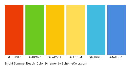 Bright Summer Beach - Color scheme palette thumbnail - #ED3D07 #6BC920 #FAC509 #FFDD54 #41BBE0 #4A8BE0