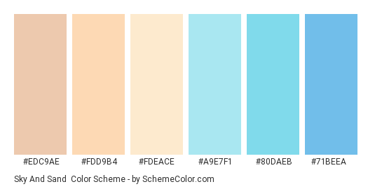 Sky and Sand - Color scheme palette thumbnail - #EDC9AE #FDD9B4 #FDEACE #A9E7F1 #80DAEB #71BEEA