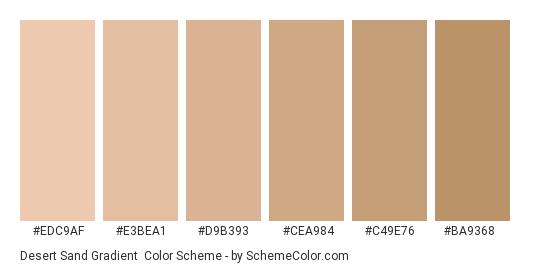 Desert Sand Gradient - Color scheme palette thumbnail - #EDC9AF #E3BEA1 #D9B393 #CEA984 #C49E76 #BA9368
