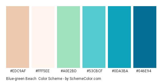 Blue-green Beach - Color scheme palette thumbnail - #EDC9AF #FFF5EE #A0E2BD #53CBCF #0DA3BA #046E94