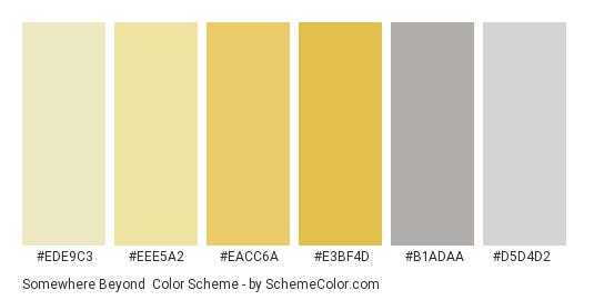Somewhere Beyond - Color scheme palette thumbnail - #EDE9C3 #EEE5A2 #EACC6A #E3BF4D #B1ADAA #D5D4D2