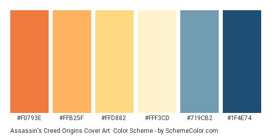 Assassin's Creed Origins Cover Art - Color scheme palette thumbnail - #F0793E #FFB25F #FFD882 #FFF3CD #719CB2 #1F4E74
