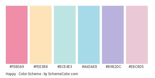 Happy & Calm - Color scheme palette thumbnail - #F08DA9 #FEE3B8 #BCE4E3 #A6DAE8 #B9B2DC #ebc8d5