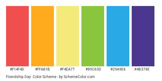Friendship Day - Color scheme palette thumbnail - #F14F4D #FFAB1B #F4EA77 #89C63D #29A9E6 #4B378E