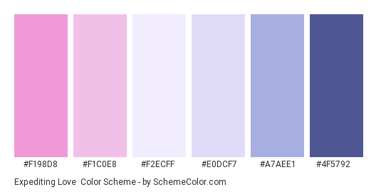 Expediting Love - Color scheme palette thumbnail - #F198D8 #F1C0E8 #F2ECFF #E0DCF7 #A7AEE1 #4F5792