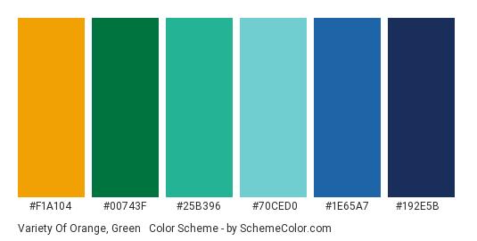 Variety of Orange, Green & Blue - Color scheme palette thumbnail - #F1A104 #00743F #25B396 #70CED0 #1E65A7 #192E5B
