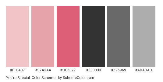 You're Special - Color scheme palette thumbnail - #F1C4C7 #E7A3AA #DC5E77 #333333 #696969 #ADADAD