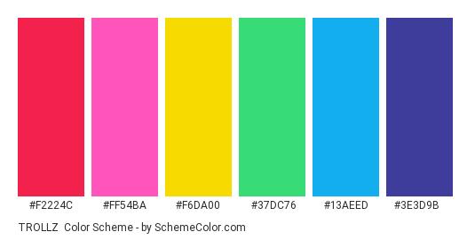 TROLLZ - Color scheme palette thumbnail - #F2224C #FF54BA #F6DA00 #37DC76 #13AEED #3E3D9B