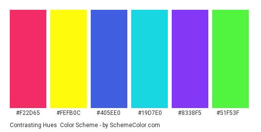 Contrasting Hues - Color scheme palette thumbnail - #F22D65 #FEFB0C #405EE0 #19D7E0 #8338f5 #51f53f