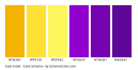 Dark Violet & Yellow - Color scheme palette thumbnail - #F2B401 #FFE135 #FEF65C #9100cf #7402b1 #5e0897