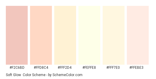 Soft Glow - Color scheme palette thumbnail - #F2C6BD #FFD8C4 #FFF2D4 #FEFFE8 #FFF7E0 #FFEBE3