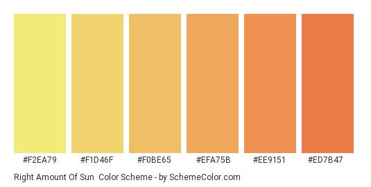 Right Amount of Sun - Color scheme palette thumbnail - #F2EA79 #F1D46F #F0BE65 #EFA75B #EE9151 #ED7B47
