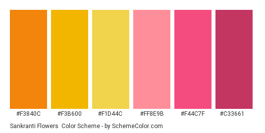 Sankranti Flowers - Color scheme palette thumbnail - #F3840C #F3B600 #F1D44C #FF8E9B #F44C7F #C33661