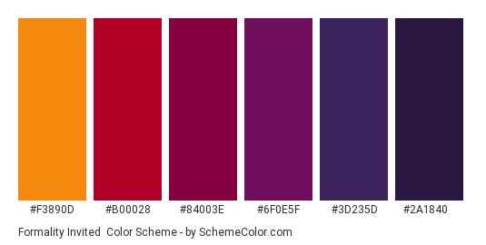 Formality Invited - Color scheme palette thumbnail - #F3890D #B00028 #84003E #6F0E5F #3D235D #2A1840