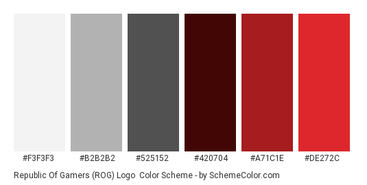 Republic of Gamers (ROG) Logo - Color scheme palette thumbnail - #F3F3F3 #B2B2B2 #525152 #420704 #A71C1E #DE272C