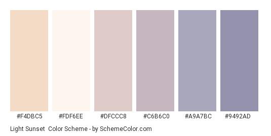 Light Sunset - Color scheme palette thumbnail - #F4DBC5 #FDF6EE #DFCCC8 #C6B6C0 #A9A7BC #9492AD
