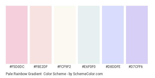 Pale Rainbow Gradient - Color scheme palette thumbnail - #F5D0DC #F8E2DF #FCF9F2 #E6F0F0 #D8DDFE #D7CFF6