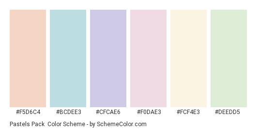 Pastels Pack - Color scheme palette thumbnail - #F5D6C4 #BCDEE3 #CFCAE6 #F0DAE3 #FCF4E3 #DEEDD5
