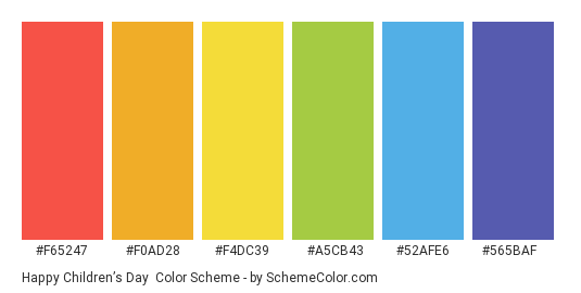 Happy Children's Day - Color scheme palette thumbnail - #F65247 #F0AD28 #F4DC39 #A5CB43 #52AFE6 #565BAF