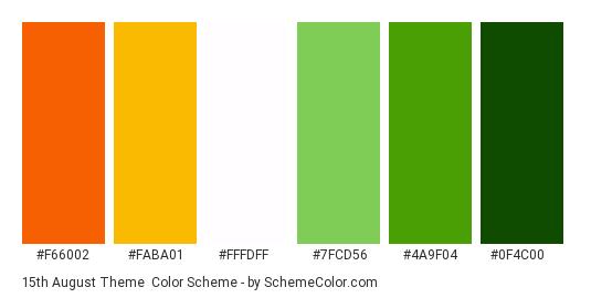 15th August Theme - Color scheme palette thumbnail - #F66002 #FABA01 #FFFDFF #7FCD56 #4A9F04 #0F4C00