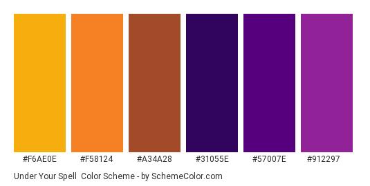 Under Your Spell - Color scheme palette thumbnail - #F6AE0E #F58124 #A34A28 #31055E #57007E #912297