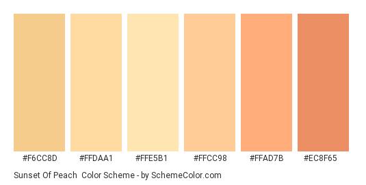 Sunset of Peach - Color scheme palette thumbnail - #F6CC8D #FFDAA1 #FFE5B1 #FFCC98 #FFAD7B #EC8F65