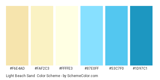Light Beach Sand - Color scheme palette thumbnail - #F6E4AD #FAF2C3 #FFFFE3 #87E0FF #53C7F0 #1D97C1