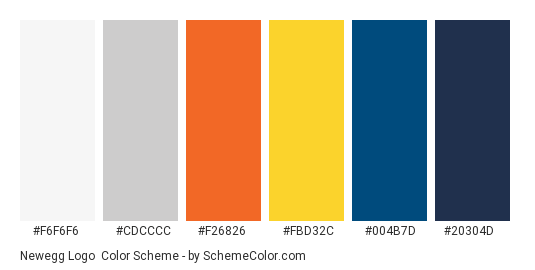 Newegg Logo - Color scheme palette thumbnail - #F6F6F6 #CDCCCC #F26826 #FBD32C #004B7D #20304D