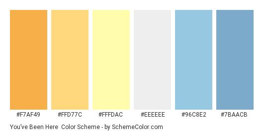 You've Been Here - Color scheme palette thumbnail - #F7AF49 #FFD77C #FFFDAC #EEEEEE #96C8E2 #7BAACB