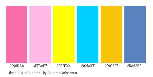 I Like It - Color scheme palette thumbnail - #F96DAA #FFBAE7 #FEFF00 #02D0FF #F9C307 #5A82BE