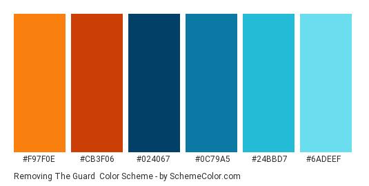 Removing the Guard - Color scheme palette thumbnail - #F97F0E #CB3F06 #024067 #0C79A5 #24BBD7 #6ADEEF