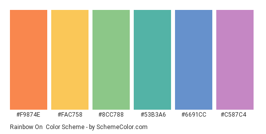 Rainbow On - Color scheme palette thumbnail - #F9874E #FAC758 #8CC788 #53B3A6 #6691CC #C587C4