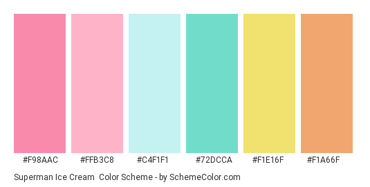 Superman Ice Cream - Color scheme palette thumbnail - #F98AAC #FFB3C8 #C4F1F1 #72DCCA #F1E16F #F1A66F