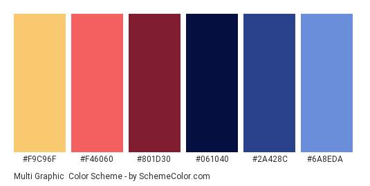 Multi Graphic - Color scheme palette thumbnail - #F9C96F #F46060 #801D30 #061040 #2A428C #6A8EDA