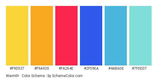 Warmth & Chill - Color scheme palette thumbnail - #F9D537 #F9A920 #FA264E #2F59EA #4AB6DE #7FDED7