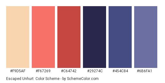 Escaped Unhurt - Color scheme palette thumbnail - #F9D5AF #F67269 #C64742 #29274C #454C84 #6B6FA1