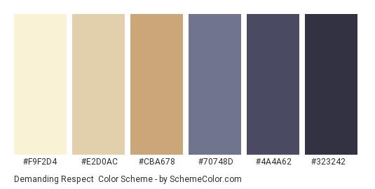 Demanding Respect - Color scheme palette thumbnail - #F9F2D4 #E2D0AC #CBA678 #70748D #4A4A62 #323242