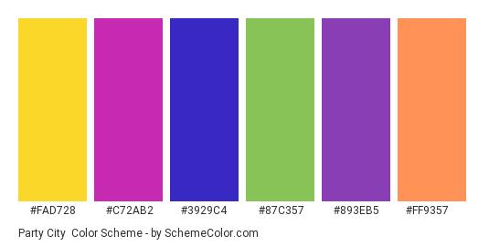 Party City - Color scheme palette thumbnail - #FAD728 #C72AB2 #3929C4 #87c357 #893eb5 #ff9357