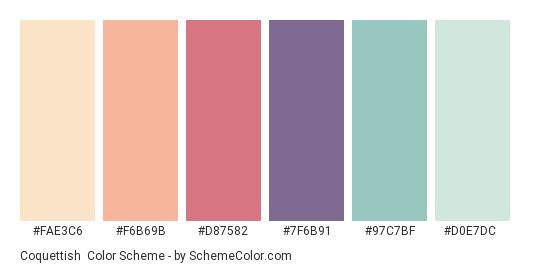 Coquettish - Color scheme palette thumbnail - #FAE3C6 #F6B69B #D87582 #7F6B91 #97C7BF #D0E7DC
