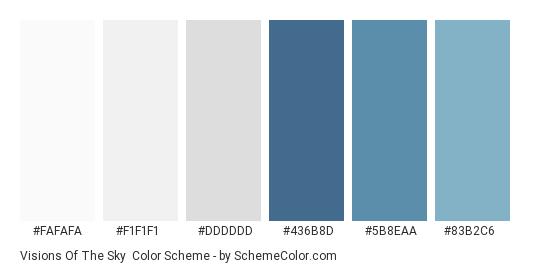 Visions of the Sky - Color scheme palette thumbnail - #FAFAFA #F1F1F1 #DDDDDD #436b8d #5b8eaa #83b2c6