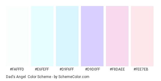 Dad's Angel - Color scheme palette thumbnail - #FAFFFD #E6FEFF #D9F6FF #D9D0FF #F8DAEE #FEE7EB