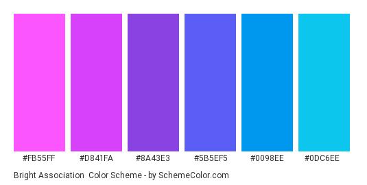 Bright Association - Color scheme palette thumbnail - #FB55FF #D841FA #8A43E3 #5B5EF5 #0098EE #0DC6EE