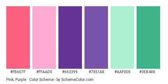 Pink, Purple & Mint - Color scheme palette thumbnail - #FB607F #FFAAD0 #663399 #7851A8 #AAF0D0 #3EB488
