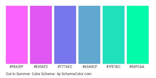 Out in Summer - Color scheme palette thumbnail - #FB63FF #E056F2 #7776EC #60A8CF #1FE1BC #00FCAA