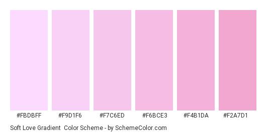 Soft Love Gradient - Color scheme palette thumbnail - #FBDBFF #F9D1F6 #F7C6ED #F6BCE3 #F4B1DA #F2A7D1