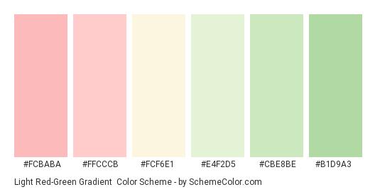 Light Red-Green Gradient - Color scheme palette thumbnail - #FCBABA #FFCCCB #FCF6E1 #E4F2D5 #CBE8BE #B1D9A3