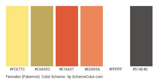 Fennekin (Pokemon) - Color scheme palette thumbnail - #FCE77C #C0A95C #E15A37 #ED865A #FFFFFF #514D4D