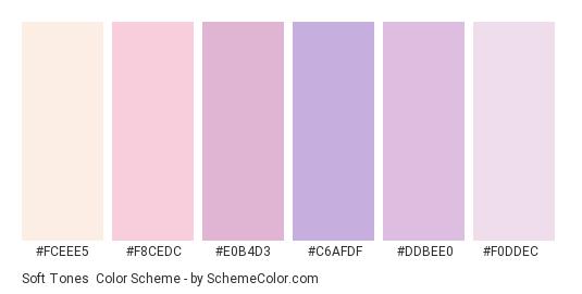 Soft Tones - Color scheme palette thumbnail - #FCEEE5 #F8CEDC #E0B4D3 #c6afdf #DDBEE0 #F0DDEC
