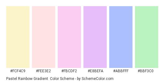 Pastel Rainbow Gradient - Color scheme palette thumbnail - #FCF4C9 #FEE3E2 #FBCDF2 #E8BEFA #abbfff #bbf3c0