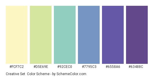 Creative Set - Color scheme palette thumbnail - #FCF7C2 #D5E69E #92CEC0 #7795C3 #6558A6 #63488C